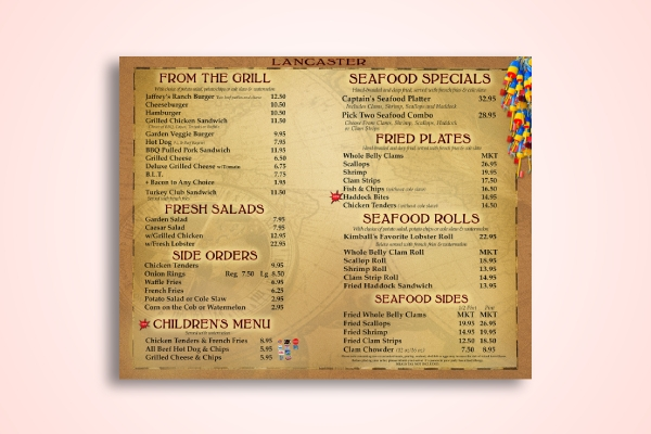 grill and seafood menu