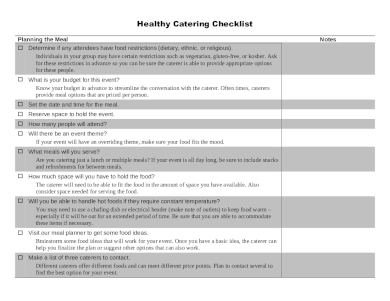 healthy catering event checklist