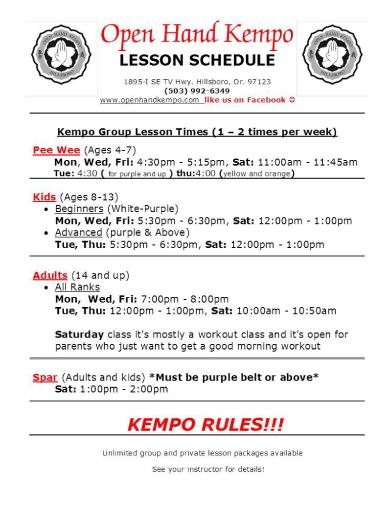 hillsboro lesson schedule