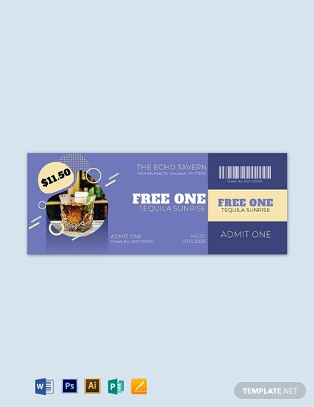 holiday drink ticket template