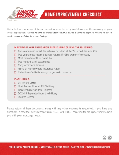 home improvement renovation checklist