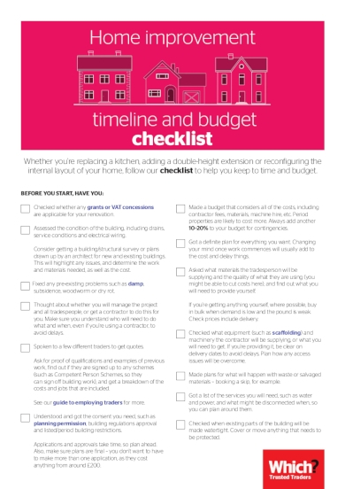 home improvement timeline and budget checklist