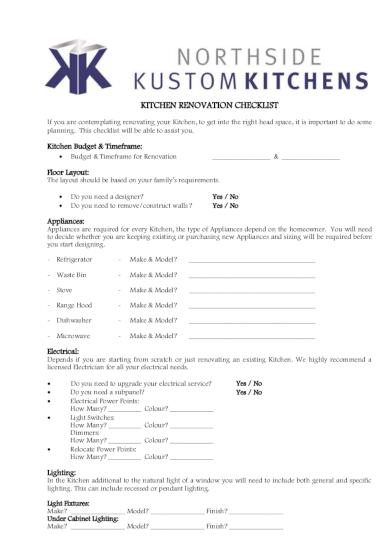home kitchen renovation checklist