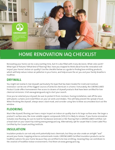 home renovation indoor air quality checklist