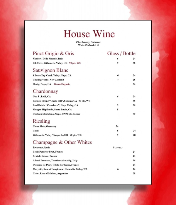 house wine menu