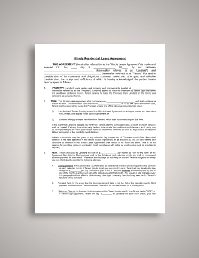 illinois residential tenant lease agreement