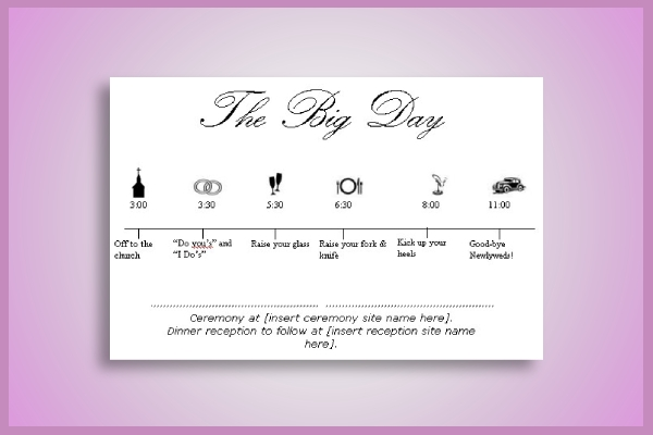 illustrative wedding timeline