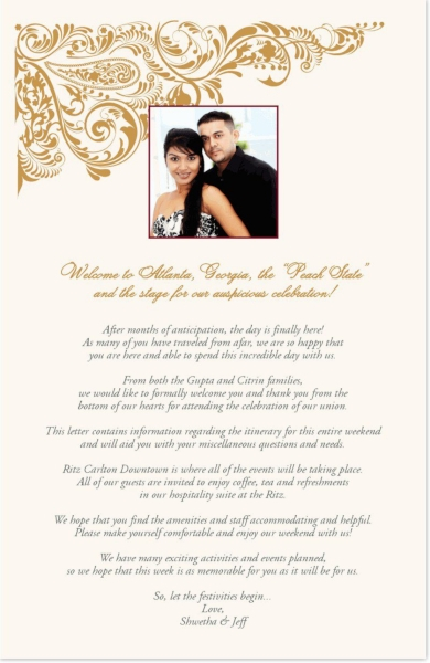 indian couple wedding welcome letter