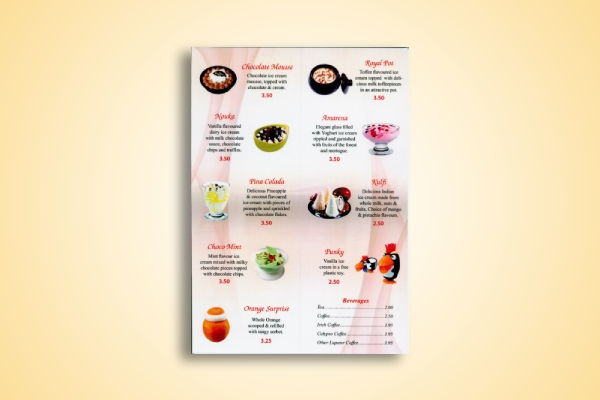 indian dessert menu