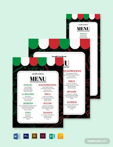 italian dinner menu template1