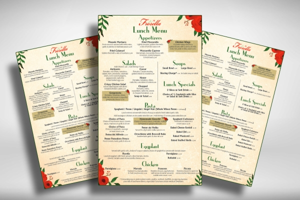 italian restaurant lunch menu