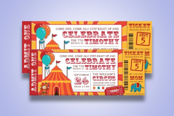 kids circus birthday ticket