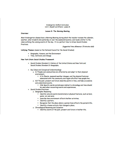 kindergarten daily lesson plan