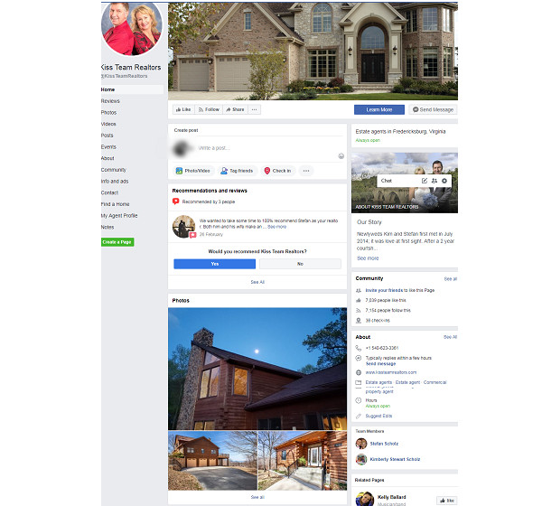 kiss team realtors facebook page example