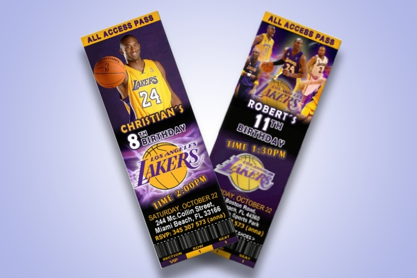 la lakers birthday ticket invitation
