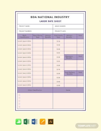 labor rate sheet