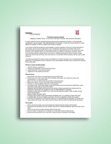 landlord tenant farmland lease checklist