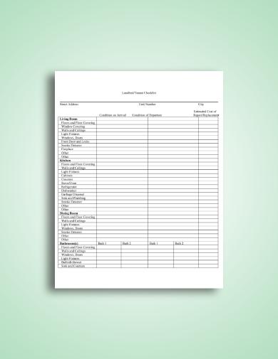 landlord tenant property checklist