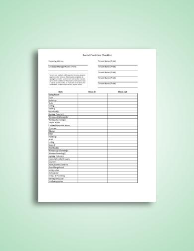 landlord tenant rental condition checklist