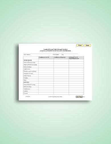 landlord tenant walk through checklist