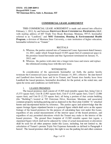 landlord and tenant commercial lease agreement