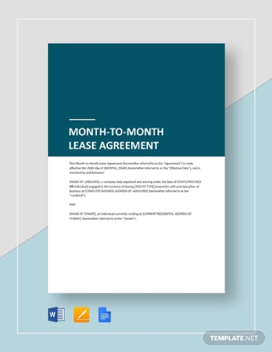 landlord and tenant month to month lease agreement