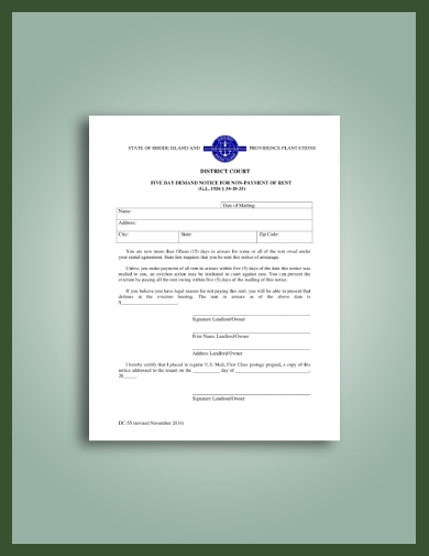 late rent demand notice to tenant