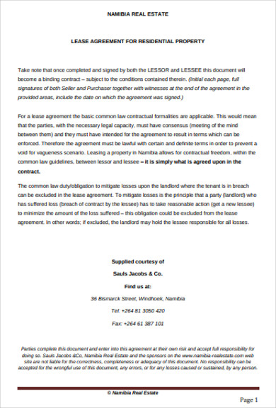 lease agreement for residential property