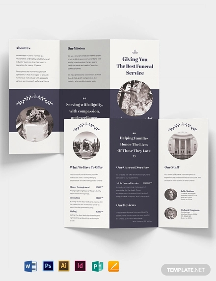 legacy funeral service tri fold brochure template