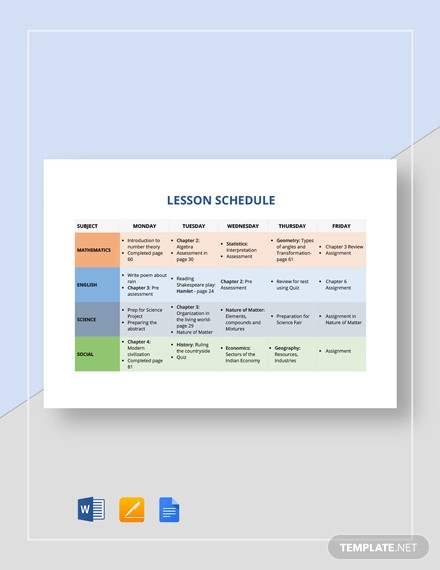 lesson schedule template