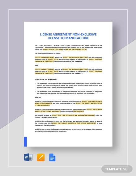 license agreement non exclusive license to manufacture template