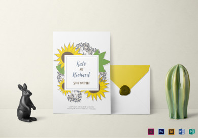 lovely sunflower wedding invitation template