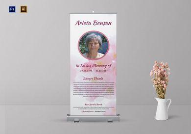 loving memory funeral roll up banner