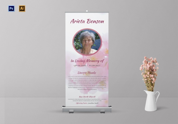 loving memory funeral roll up banner1