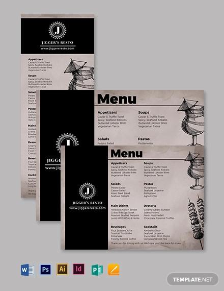 lunch dinner menu template