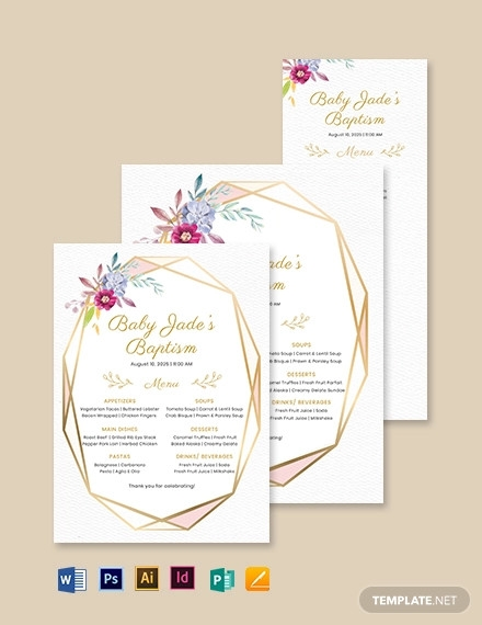 luncheon lunch baptism menu template