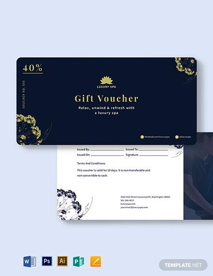 luxury spa voucher template