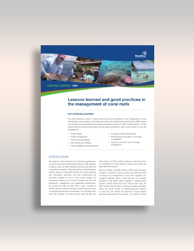 management of coral reef lesson report
