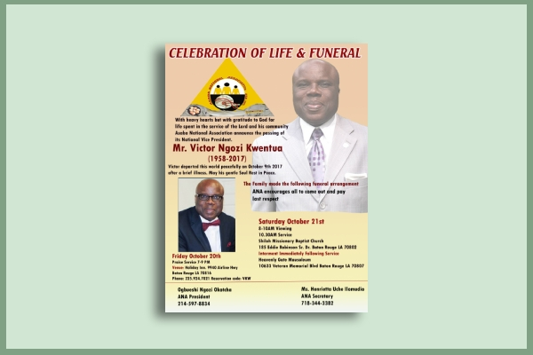 manager funeral flyer
