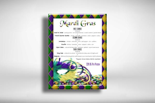 mardi gras holiday menu