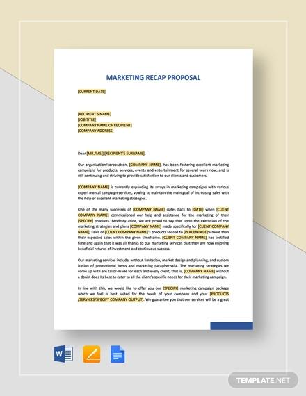 marketing recap proposal template