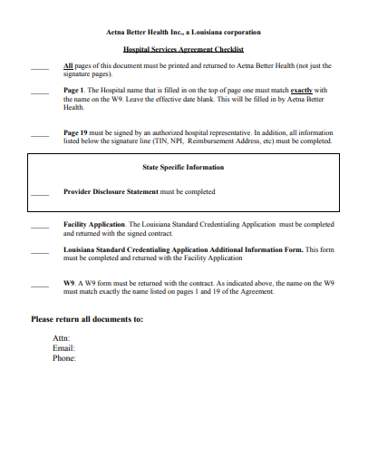 medical and hospital services agreement