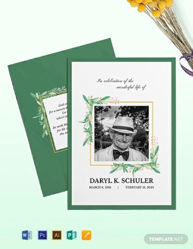memorial service card
