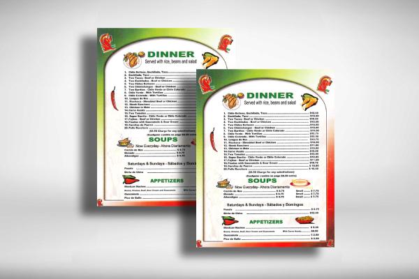mexican dinner menu