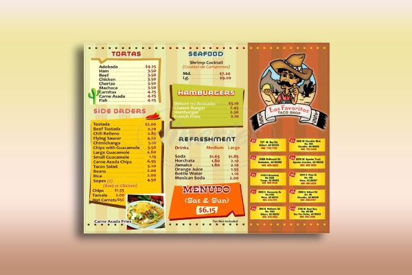 mexican taco shop menu