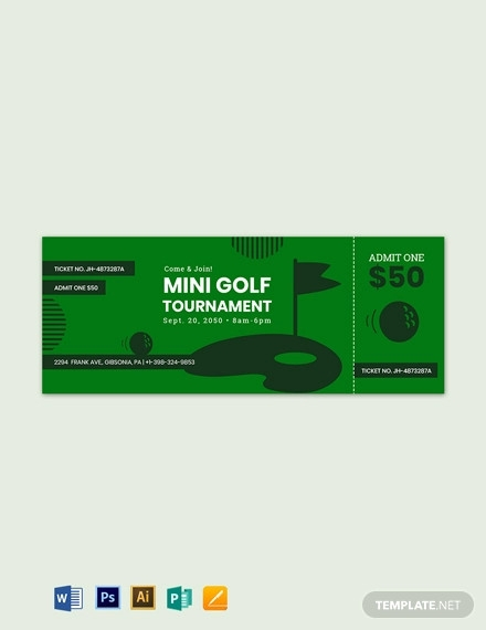 mini golf ticket template