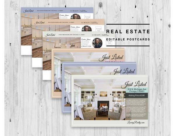 minimal real estate postcard example