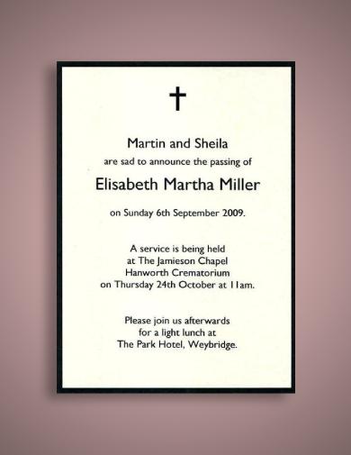 minimalist funeral notice