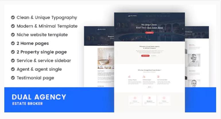 minimalist realtor website template