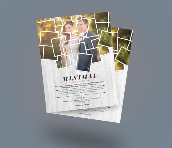 minimalist wedding photography flyer